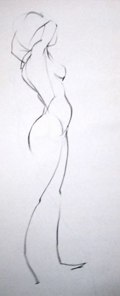 Female figure study anatomy drawing in charcoal and graphite. Admire simplicity.