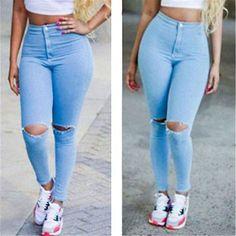 d6eaa981648494 2039 Youaxon Women`s Hot Curvy High Waist Stretchy Jean Pants Skinny Pencil Woman  Jeans