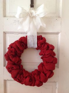 Red Burlap Wreath with Small Bow-Burlap Decor-Front Door-Red Burlap-Red Home Decor-Valentines Day-Burlap - Burlap Bow - Housewarming Gift