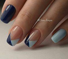 Simple Nail Art Designs, Fall Nail Designs, Beautiful Nail Designs, Easy Nail Art, Nail Tip Art, Nail Tips, Navy Blue Nail Designs, Simple Art, Stylish Nails