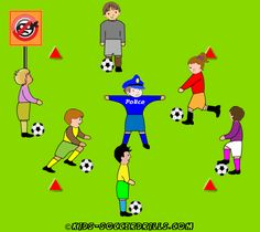 Dibbling - Catch the thief - Kids Soccer - Soccer drills for kids from to - Soccer coaching with fantasy Soccer Practice Drills, Soccer Drills For Kids, Football Drills, Soccer Skills, Youth Soccer, Kids Soccer, Soccer Stars, Soccer Camps, Top Soccer