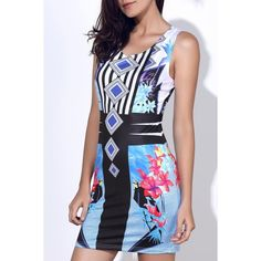 10.91$  Buy here - http://digg3.justgood.pw/go.php?t=138970305 - Stylish Round Neck Full Print Sleeveless Women's Bodycon Dress