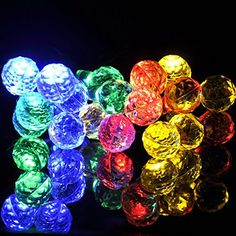 sunniemart 20 led round ball solar powered fairy string lights decorative outdoor christmas tree gardens indoor