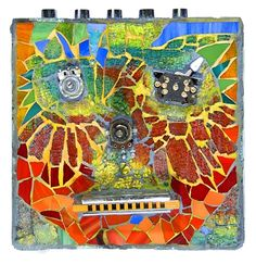 Jay's Harmonica by Patricia Ormsby ~  glass mosaic collage of face with harmonica