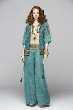 Total look by Hippy Heart.Trouser , embroidery shirt and kimono jacket soon available at selected stores. Visit our web.