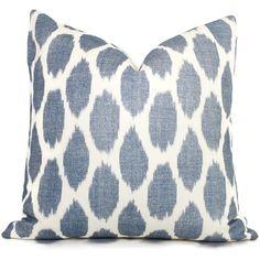 Navy Blue Adras Ikat Quadrille China Seas Pillow Cover Square or Lumbar pillow, Throw Pillow, Toss Pillow