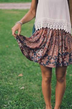 26/10 Tues- floral skirt, white knit Crochet top, sandals