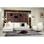 VIG Furniture - Modern White Cow Accented Sectional Sofa Set - K8364   SPECIAL PRICE: $2,515.00