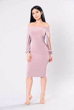 Available in Mauve Off Shoulder Slit Arm Dress Made in USA Polyester Club Dresses, Sexy Dresses, Mini Dresses, Mauve Dress, Under Dress, Lingerie, Dress To Impress, Dress Skirt, Bodycon Dress