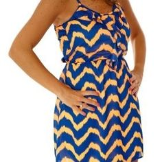 Orange and Blue Ruffle Front Gameday Dress