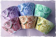 Old rose collection can come in any combination. From top left to bottom right- Mauve, Lilac, Green, pink, Peach and gold.