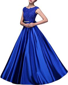 Eudolah Aline Lace Applique Taffeta Brightly Long Prom Bridesmaid Dress Royal Blue Size 14 ** Visit the image link more details. (This is an affiliate link)