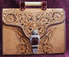 Hand tooled leather briefcase, Sheridan style design, western buckle set , dowel handle
