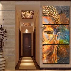 Bargains frame home wall art buddha statue modern canvas printed poster pictures 3 piece buddha meditation abstract painting Buddha Canvas, Buddha Wall Art, Buddha Painting, Buddha Decor, Home Interior, Decor Interior Design, Interior Decorating, 3 Piece Canvas Art, Canvas Wall Art