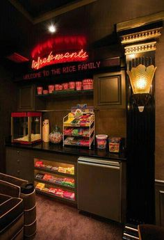 home theater concession stand Everyone would want to hang out at my house! Concession Stand in your home theater room! Fill with all your favorite treats and sweets. Home Theater Room Design, Movie Theater Rooms, Home Cinema Room, Home Theater Setup, Home Theater Seating, Movie Theater Basement, Movie Theater Snacks, Theatre Rooms, Home Theatre