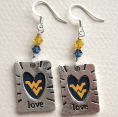 I made these!  LOVE West Virginia University WVU Earrings  by ChloeBoutique78, $22.00