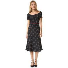 Black Halo Nella Polka Dot Dress ($395) ❤ liked on Polyvore featuring dresses, polka dot, vintage looking dresses, lining dress, dot dress, spotted dress and short sleeve polka dot dress