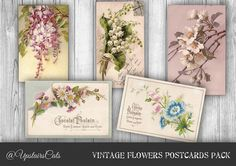 Vintage Flowers Postcards Digital Pack of 5 - Old Postcards Flowers and Chocolate French Labels -  Instant Digital Download - Printable