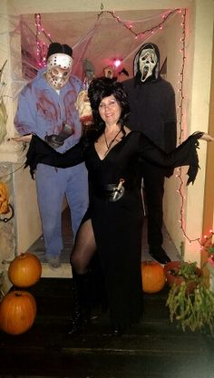 Elvira having a screaming halloween with jason voorhees and mr.sceam