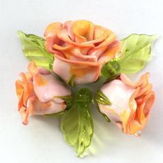 #petrovnalampwork #handmade  #lampwork #my365beads2017  #etsyseller @etsy #beading #лэмпворк #бусины #стекло #roses #salmonroses #flowers