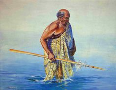 Tradition by Thomas Scicli Lauterbach. Peacefully melted together, the mana (power) of the sea, the taiaha (weapon) and the kaumatua (elder), about to embark on the waiting waka. New Zealand, Weapons, Waiting, Sea, Traditional, Canvas, Artist, Prints, Image