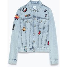 Zara Denim Jacket With Patches (645 UAH) ❤ liked on Polyvore featuring outerwear, jackets, chaqueta, light blue, patch jacket, zara jacket, blue denim jacket, jean jacket and patch denim jacket