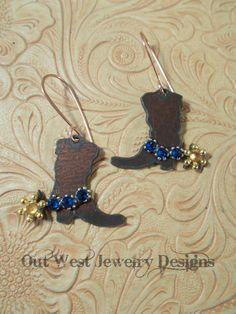 Western Rodeo Cowgirl Boot Earrings with Capri Blue Swarovski Crystal Spur Straps - pinned by pin4etsy.com