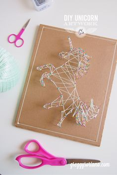 DIY Unicorn Artwork (String Art) More