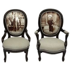 Pair Of Limited Edition Giclee 'Sailor Boy' Victorian Parlor Chairs