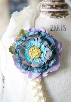 Gift for Her, Fabric Flower Brooch, Teal Blue Flower Pin, Textile Brooch, Floral Hat Pin, Flower Lapel Pin, Colorful Corage Pin, Scarf Pin