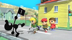 Game and Watch, Toon Link, Ness and Villager - Super Smash Bros, Wii U