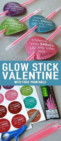 Glow Stick Non-Candy Valentine Free Printable.  A great idea for a fun non-candy valentine for your kids to pass out to their friends!  Print off, cut out and insert glow stick bracelets! So easy!