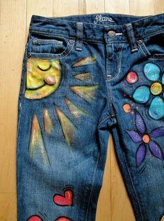 Items similar to Flower Child Hippie Hand-Painted Jeans-Childrens Sizes on Etsy Painted Denim Jacket, Painted Jeans, Painted Clothes, Hand Painted, Hippie Jeans, Hippie Hose, Diy Clothing, Custom Clothes, Estilo Hippie