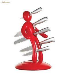 The Ex 5-Piece #Knife Set with Unique Red Holder Designed By Raffaele Iannello. #Kitchen