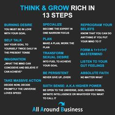 Think and Grow Rich 13 Steps Financial Quotes, Financial Literacy, Financial Tips, Financial Peace, Business Money, Business Tips, Online Business, Quotes Dream, Life Quotes Love