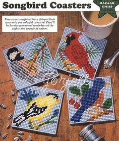 Songbird Coasters Set plastic canvas patterns