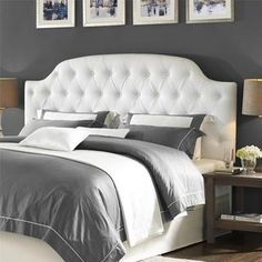 Lyric White Button Tufted Faux Leather King Headboard | Overstock.com Shopping - The Best Deals on Headboards
