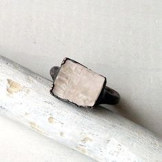 Copper Ring Tourmaline Gem Stone Pale Cream by MidwestAlchemy