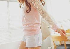 Lace pink shirt