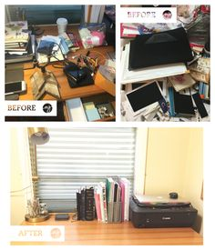 Before and After of an at home work space, in a couple of hours all the books and papers and desk supplies were tidied up KonMari style!
