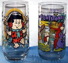 Flintstones jelly glasses I think you got them at Pizza Hut, with CareBears, Smurfs and Garfield