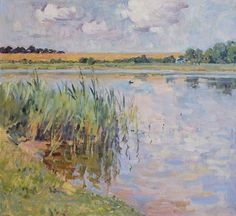 """On the Lake, oil on canvas, 60 x 65 cm, (23"""" x 25""""), $ 1,750"""