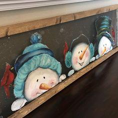 Peeking snowmen with cardinals snowman snowmen by RebecaFlottArts