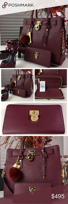 "Micheal Kors Large Saffiano Bag, Wallet &Key charm Micheal Kors Brand New 💯% Authentic Large Gold Merlot Saffiano Leather Handbag.  Double top handles: 4 1/2"". Non removable  strap for shoulder wear with 12"" drop.  Interior: one inside zip pocket, 3 open inside pockets, cell phone pocket. Magnetic snap Closure. Gold MK logo lock charm. Approx.:  14"" (L) x 13"" (H) x 5 1/2"" (W) Dust bag NOT included. Large Hamilton Traveler Zip around leather wallet. Beautiful gold lock. Zipper coin pocket…"