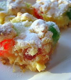 Pineapple Squares w\ glazed cherries - Big Red Kitchen Candy Recipes, Sweet Recipes, Holiday Recipes, Cookie Recipes, Dessert Recipes, Bar Recipes, Christmas Recipes, Recipes Dinner, Recipies