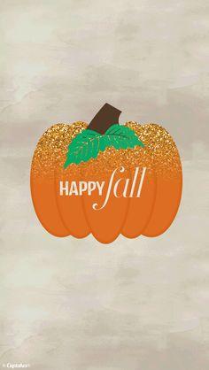 Glitter pumpkin Happy Fall iphone phone background wallpaper lock screen