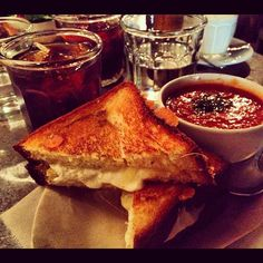 "@greenekatie's photo: ""Cheddar and mozzarella grilled cheese with tomato soup #instayum #queenskickshaw @courtnicole"""