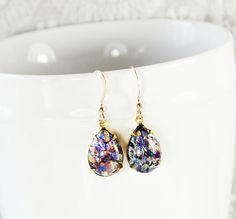 Handmade Purple Fire Opal Earrings, VINTAGE Art Glass, 14K Gold Filled, 1950s CZECH Harlequin Pear / Teardrop, Bridesmaid Jewelry by VintageJewelryReborn, $29.00
