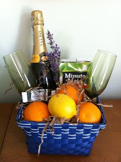 Wine fruit gift basket idea great for clients and to say thank mimosa gift basket solutioingenieria Images