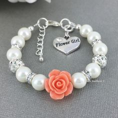 Peach Flower Girl Bracelet Flower Girl Jewelry Flower Girl Gift for Her Pearl Bracelet Charm Bracelet Girl's Jewelry Wedding Jewelry FG101 by JoaillerieDaisy on Etsy https://www.etsy.com/ca/listing/276784578/peach-flower-girl-bracelet-flower-girl